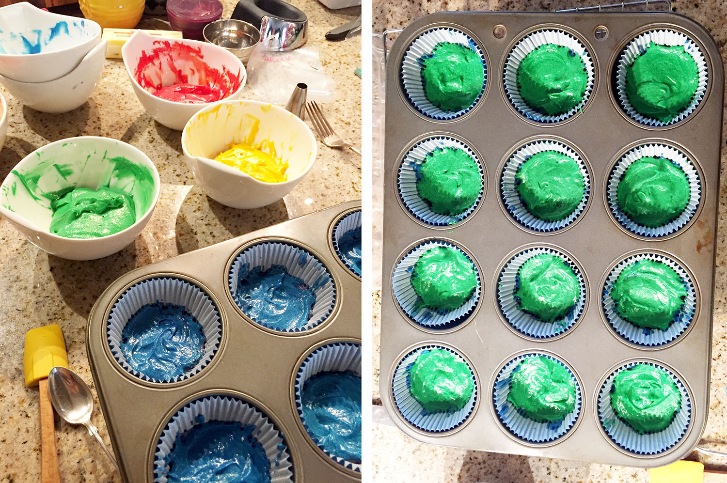 Rainbow Cupcakes in progress